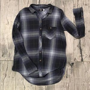 BDG Urban Outfitters Navy Blue Plaid Soft Flannel